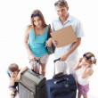 Family tired of holiday — Stock Photo