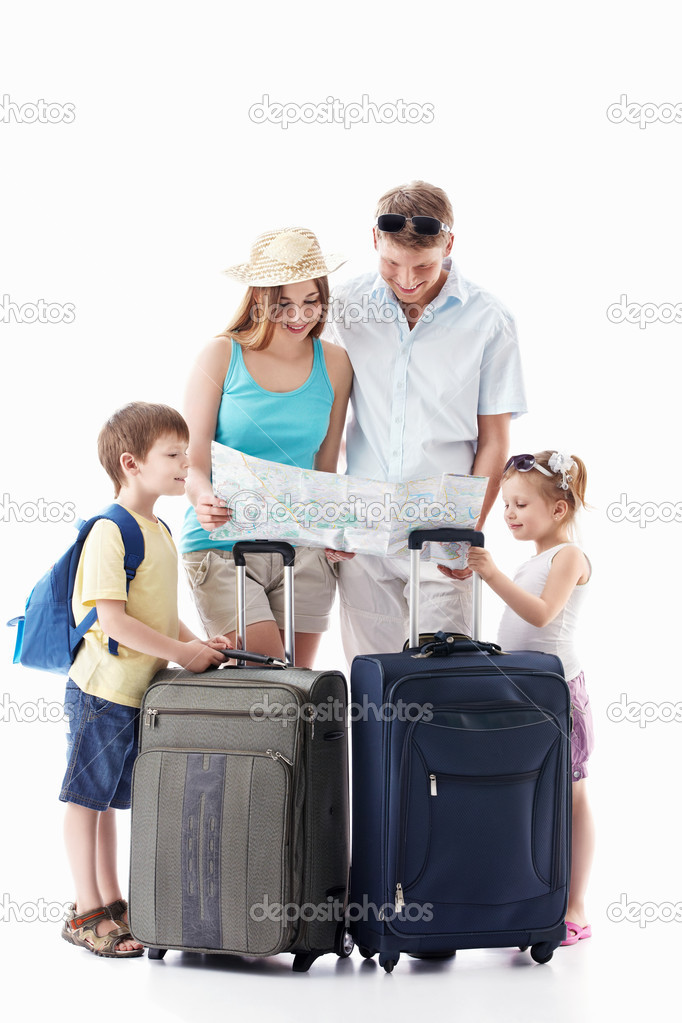 Families with children see the map on a white background — Stock Photo #5551321