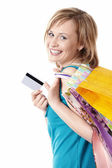 Young girl with credit card — Stock Photo