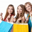 Girls with credit cards - Foto Stock