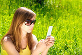Woman with cellular — Stock Photo