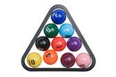 Billiard balls on white — Stock Photo