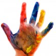 Childrens hand in the paint close up — Stock Photo