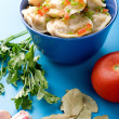 Stock Photo: Pelmeni with garlic and bay leaf close up