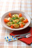 Pelmeni on plate close up — Stock Photo