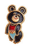 Soviet badge with Olympic bear macro — Stock Photo