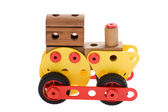 Toy locomotive on white — Stock Photo