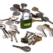Padlock with key close up — Foto Stock
