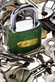 Padlock with key macro — Stock Photo