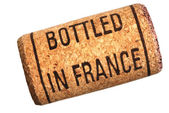 Wine cork with inscription bottled in France — Stock Photo