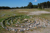 Stone labyrinth for meditation — Stock Photo