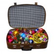 Christmas-tree decorations in old suitcase — Stock Photo #5879792