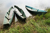 Three wooden boats — Stock Photo