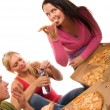 Friends having fun and eating pizza — Stock Photo #5426489