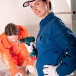 trabajadores de la construcción en el trabajo — Foto de Stock