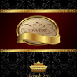 Background with golden luxury label and crown — Stock Vector