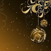 Christmas floral card with gold ball — Stock Vector