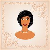 Face portrait of beautiful girl — Stock Vector