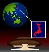Ilustração de biohazard radioativo global após danos na nuc — Vetor de Stock