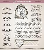 Set floral ornate design elements (4) — Stock Vector