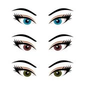 Set female eyes isolated (3) — Stok Vektör