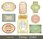 Impostare la variazione retrò vintage etichette — Vettoriale Stock