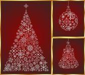 Christmas set pine, ball and bell — Stock Vector