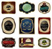 Set of decorative color gold frames labels — Stock Vector