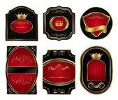 Set black gold-framed labels — Stock Vector