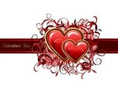 Valentine's grunge card with hearts — Stockvector