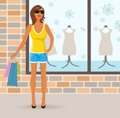 Modern girl with shopping bags — Stock Vector
