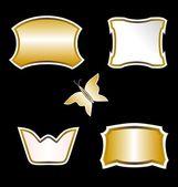Illustration som guld fjäril och utsmyckade element design av bla — Stockvektor