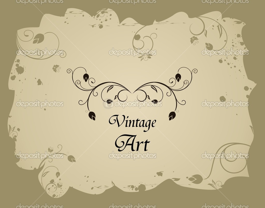 Illustration of retro grunge floral frame - vector — Stock Vector #5721035