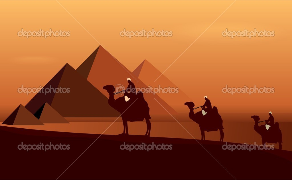 Caravan camels among desert and pyramids. Vector — Stock Vector #5721211