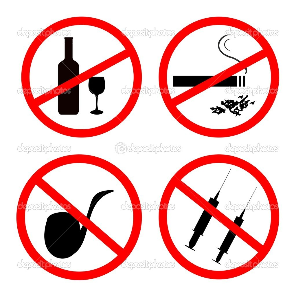 Vector of: No smoking, No alcohol and no drugs signposts — Stock Vector #5721651