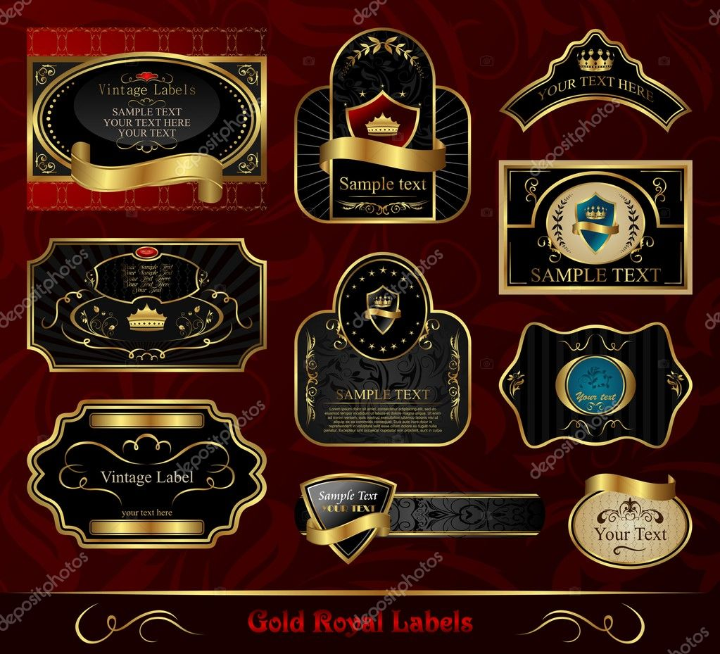 Illustration set black gold-framed labels - vector  Stock Vector #5721686