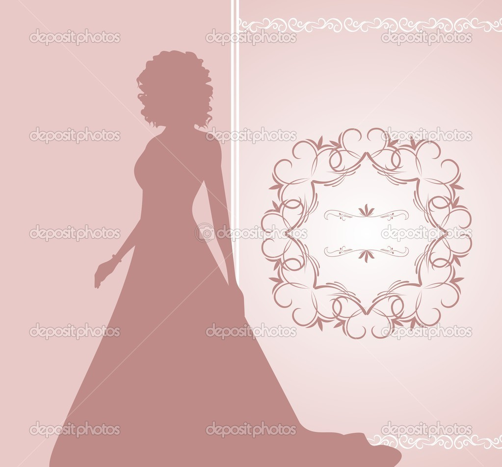Illustration wedding invitation or card with girl bride - vector  Stock Vector #5721850