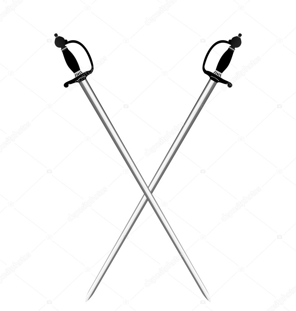 Illustration by two silver swords of white background - vector — Stock Vector #5721872