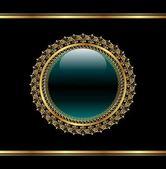 Golden floral medallion for packing — Stock Vector