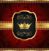 Golden vintage frame with crown — Stock Vector