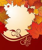 Autumn floral background with maples — Vector de stock