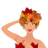 Elegante Herbst Mädchen mit Laub — Stockvektor