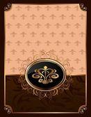 Golden ornate frame with emblem — Stock Vector