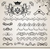 Set floral ornate design elements (5) — Stock Vector