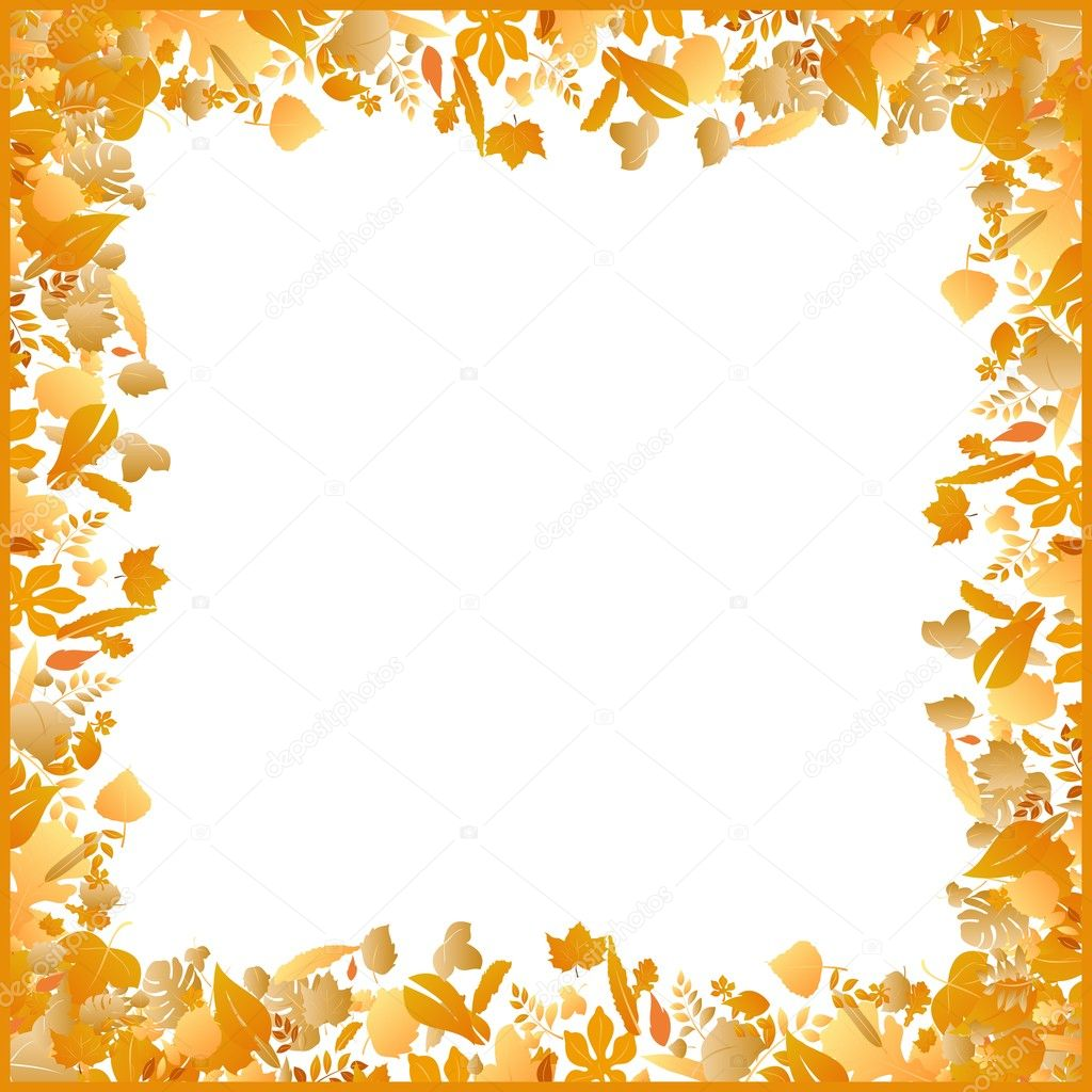 Illustration autumn frame made of various leaves - vector — Stock Vector #6290229