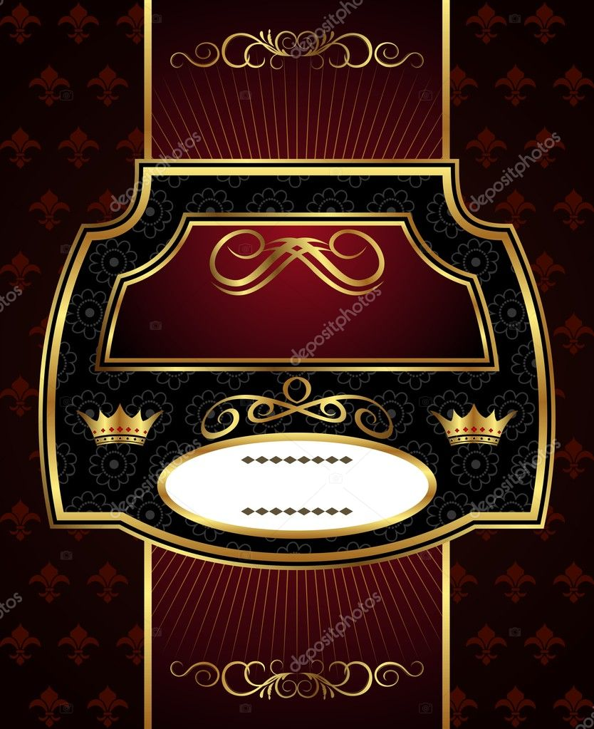 Illustration decorative gold frame label - vector — Stock Vector #6290259
