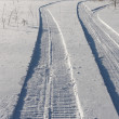 Traces of a snowmobile — Stock Photo