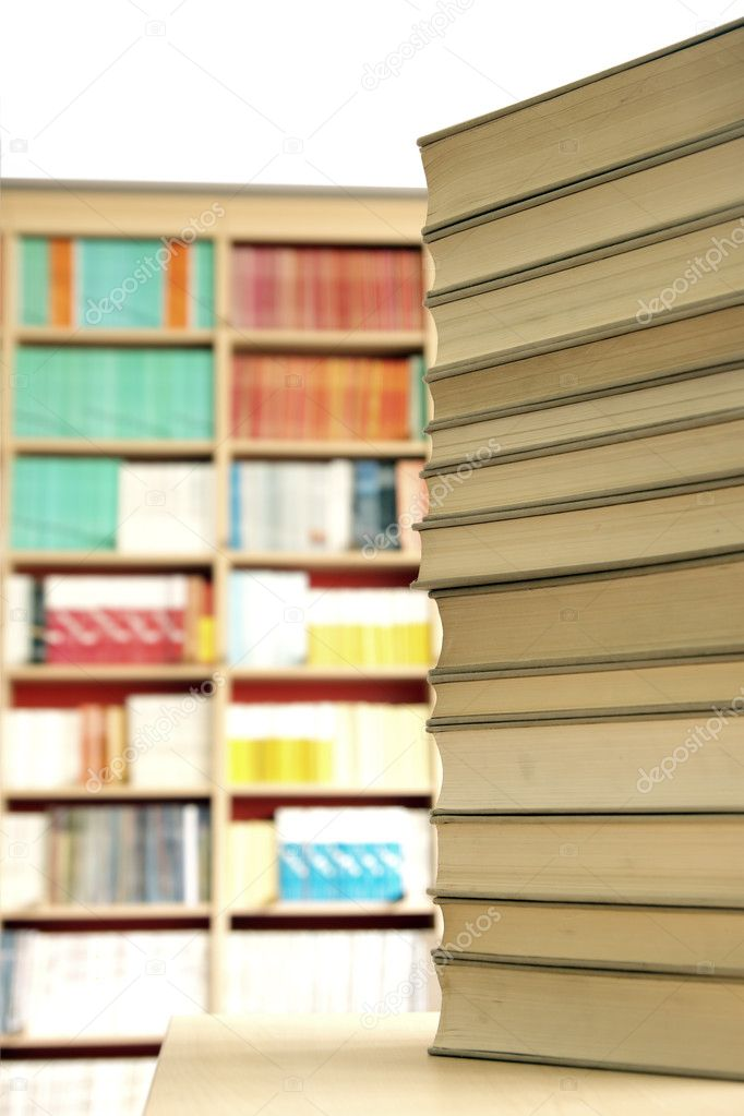 Tower of books in the school library — Stock Photo #6437347