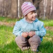 Little smiling girl at forest — Foto de Stock