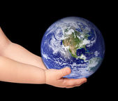 Little girl hold globe — Stock Photo